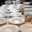 Dishes on the plating line — Stok fotoğraf