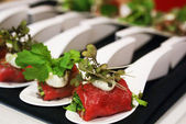 Herb Stuffed Beef Tenderloin Carpaccio — Stock Photo