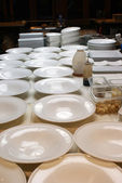 Dishes on the plating line — Stock Photo
