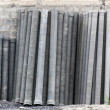 Stack of many concrete drainage pipe — Photo