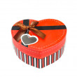 Red Heart-shaped box — Foto Stock