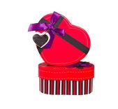 Red Heart shaped box — Stock Photo