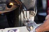 Repairing exhaust pipe — Foto de Stock