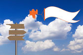 Cartoon aircraft against blue sky — Stock Photo