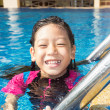 Foto Stock: Girl side of swimming pool