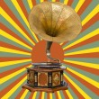 Stock Photo: Gramophone and retro sun rays
