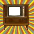 Stock Photo: Old television and retro sun rays