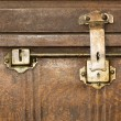 Foto Stock: Lock of old metal casket close up