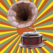 Gramophone and retro sun rays — Stock Photo #30909979
