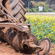 Tractor in flower garden — Stock Photo #38688209