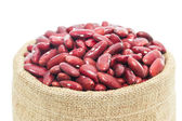 Kidney  beans in wood cup on white background — Stock Photo