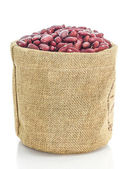 Kidney beans in Sacks fodder on white background — Stock Photo