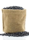 Dried black beans in Sacks fodder — Stock Photo