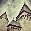 Stock Photo: Retro-styled representation of Estavayer castle (Fribourg / Switzerland)