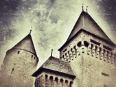 Retro-styled representation of the Estavayer castle (Fribourg / Switzerland) — Stock Photo