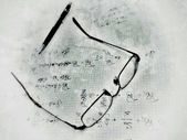 Glasses and propelling pencil on work notes — Stock Photo