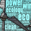 Illustration of wind turbines, made up of words — Stock Photo
