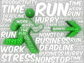 Word art illustration of a running human followed by an arrow — Stock Photo
