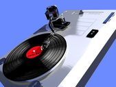 Record player with a turning vinyl — Stock Photo