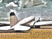 Word art illustration of a DC-3 transport aircraft — Stock Photo