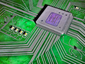 Vibrant illustrated section of a circuit board — Stock Photo