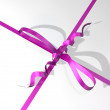 Pink-colored ribbon and bow of a gift box — Stock Photo