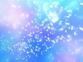 Falling snowflakes on a pink and blue background — Stock Photo