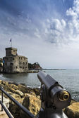 Panoramic telescope pointing to the castle of Rapallo — Stock Photo