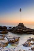 O mar de génova quarto dei mille por do sol — Fotografia Stock