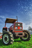 Red tractor on the meadow — Stock Photo