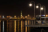 Lighthouse of Genoa by night — Stock Photo