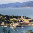 Aerial view of Sestri Levante with its characteristic peninsula. — Stock Photo