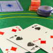 Poker cards and chips — Stock Photo
