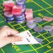 Playing cards and chips — Stock Photo