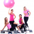 group of fitness instructors stand with accesories — Stock Photo