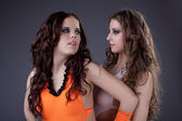 Two beauty sexy go-go dancers portrait — Stock Photo