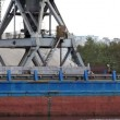 Stock Video: Big crane work in river dock - sand and gravel
