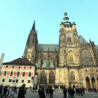 Stock Video: Historical Prague central square and tourist walk around