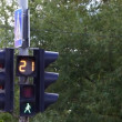 Stock Video: Traffic light on post with sign