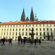 Historical Prague square and tourist walk around - Stock Photo
