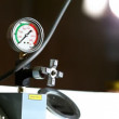 Industrial pressure barometer at work - Stock Photo