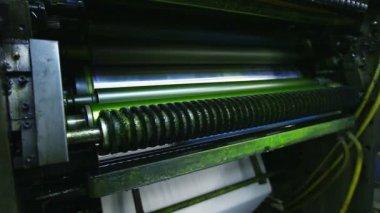 Print shop machine detail close-up — Stock Video