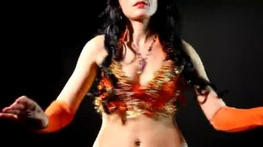 Woman Belly dance - shake breast — Stock Video