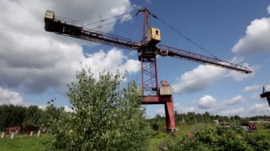 Building crane on the construction — Video Stock