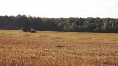 Wheeled tractor in field — Stock Video