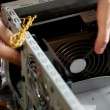Vídeo de stock: Assembly computer - install power supply unit