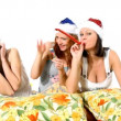 Girls in hats of Santa Claus — Stock Video
