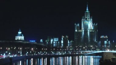 Traffic in night Moscow time lapse — Stock Video