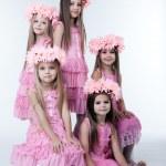 cinq petites filles en robes roses et couronnes — Photo #14943679