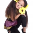 Fashion asian little girl sitting on floor — Stock Photo #15680579